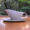 """Poole pottery """"Mushroom and Sepia"""" gravy sauce boat and stand"""