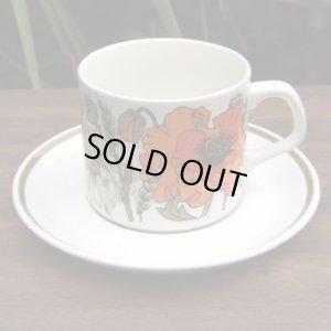 """画像1: J&G MEAKIN """"POPPY"""" tea cup and saucer by Eve Midwinter"""