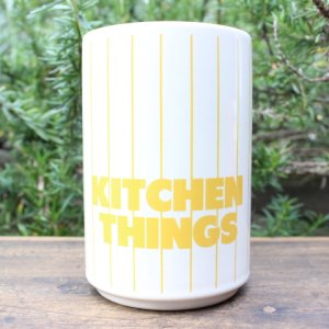 "画像2: Hornsea yellow stripe ""Kitchen Things"" pot"