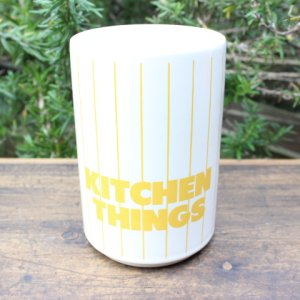 "画像1: Hornsea yellow stripe ""Kitchen Things"" pot"