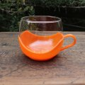 Vintage glass cup with holder from Europe