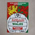 "Football programme  ""England vs Wales"" 1977"