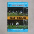 "Football programme  ""England vs Netherlands 1977"""