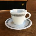 "JAJ / Pyrex ""Greek Key"" tea cup and saucer"