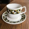"Wood & Sons ""Alpine White"" vintage op art ta cup and saucer"