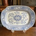 E.M. & Co blue and white antique oval dish